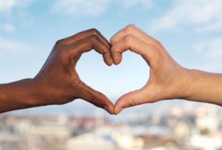 Black white hands heart